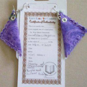 Purple triangle shapped FABRIC earrings
